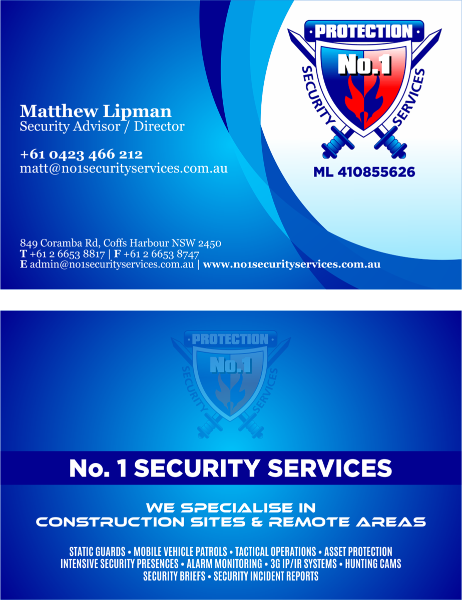 Construction business card design for no 1 security services pty business card design by barinix for no 1 security services pty ltd design colourmoves