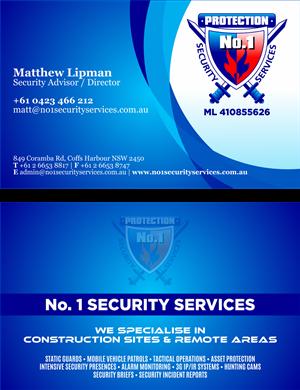 business card design for no 1 security services pty ltd by gek design 3318320. Black Bedroom Furniture Sets. Home Design Ideas