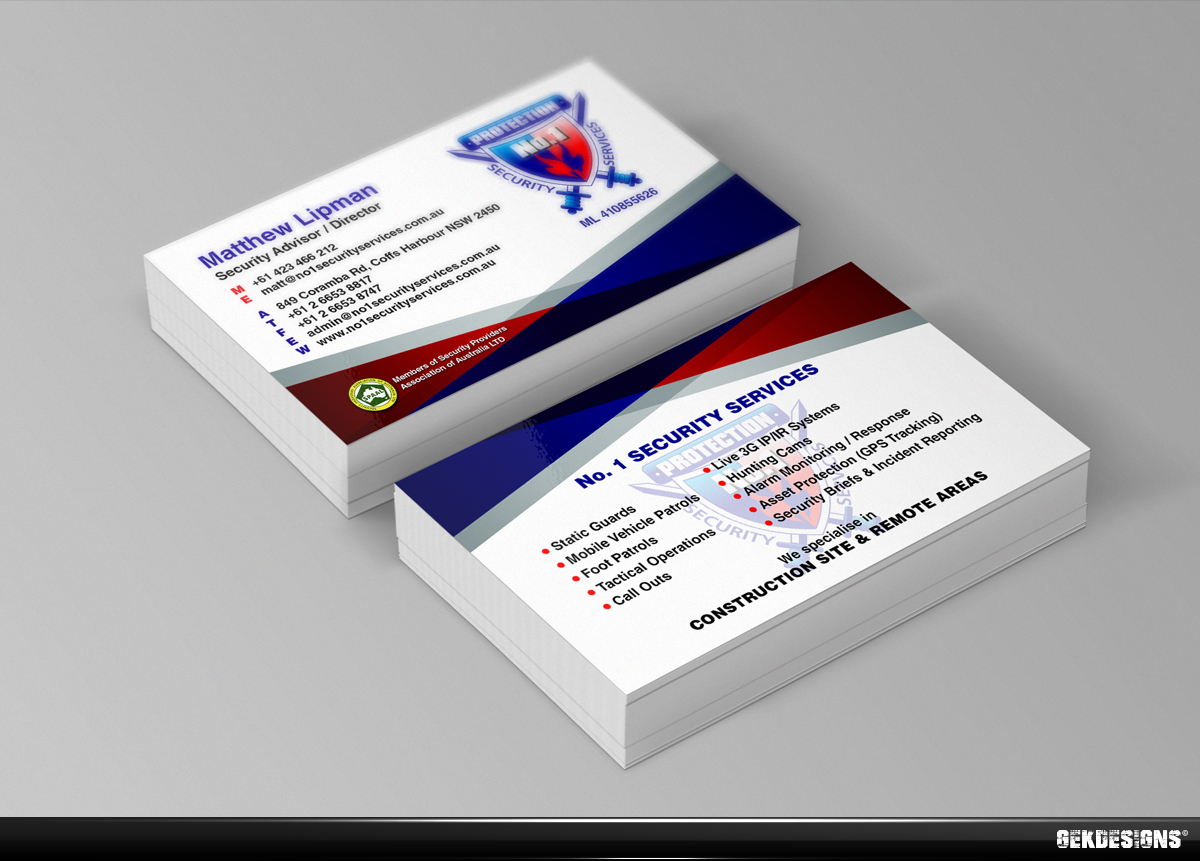 Business card design design for no 1 security services for Cctv business card
