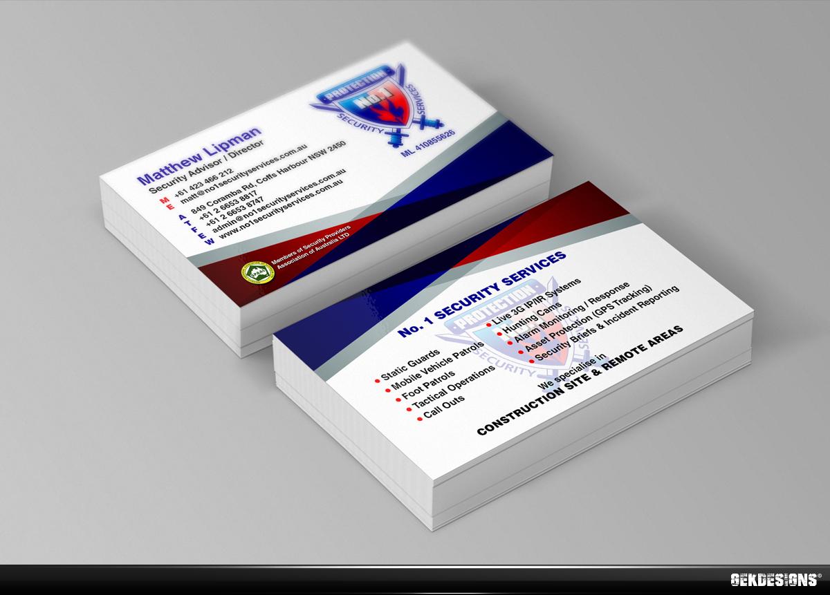 Business Card Design design for No 1 Security Services
