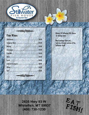 Menu Design by jmsgraphicdesign - Stillwater Fish House Menu design