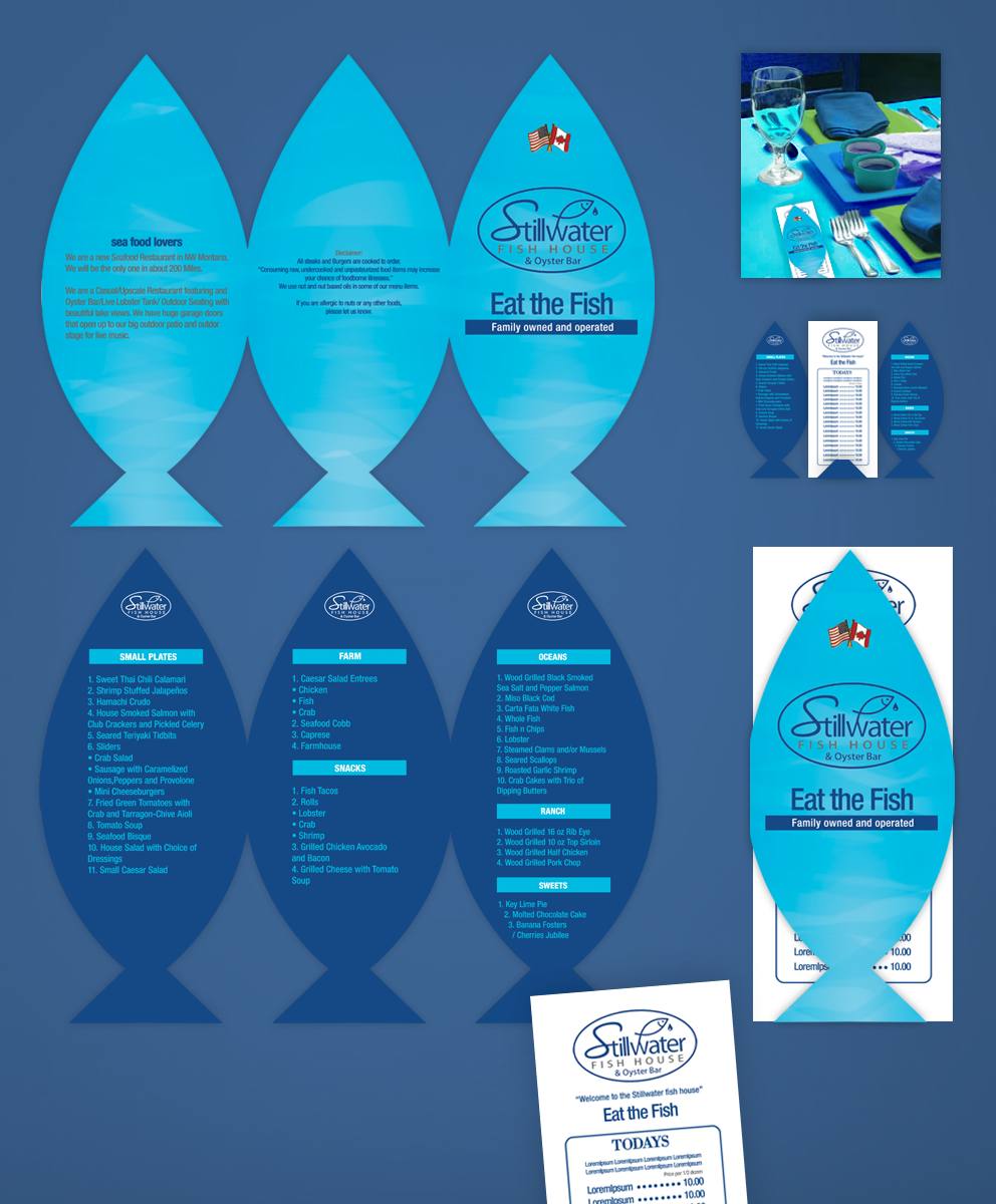 Playful bold restaurant menu design for a company by pr for Stillwater fish house menu