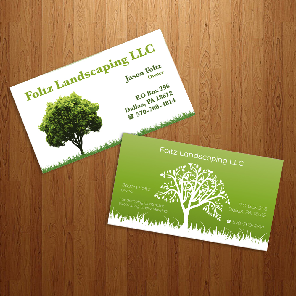 3 business card designs contractor business card design for Landscaping business