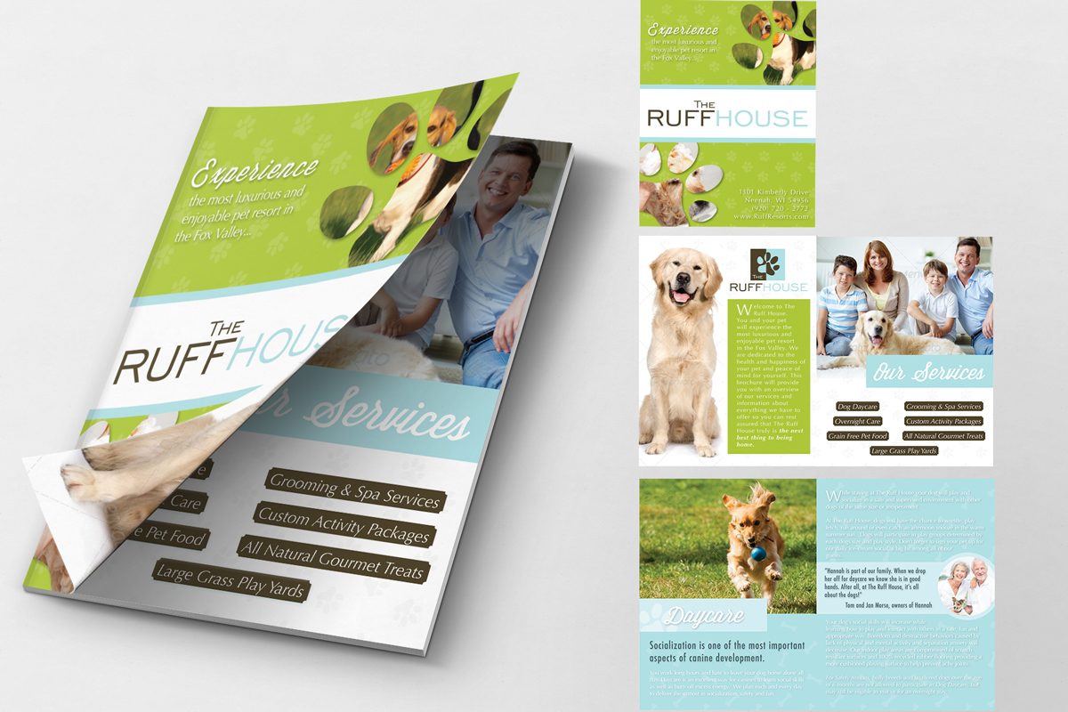 bold playful brochure design for micaela macdonald by iverson brochure design by iverson designs for brochure for dog daycare overnight facility design