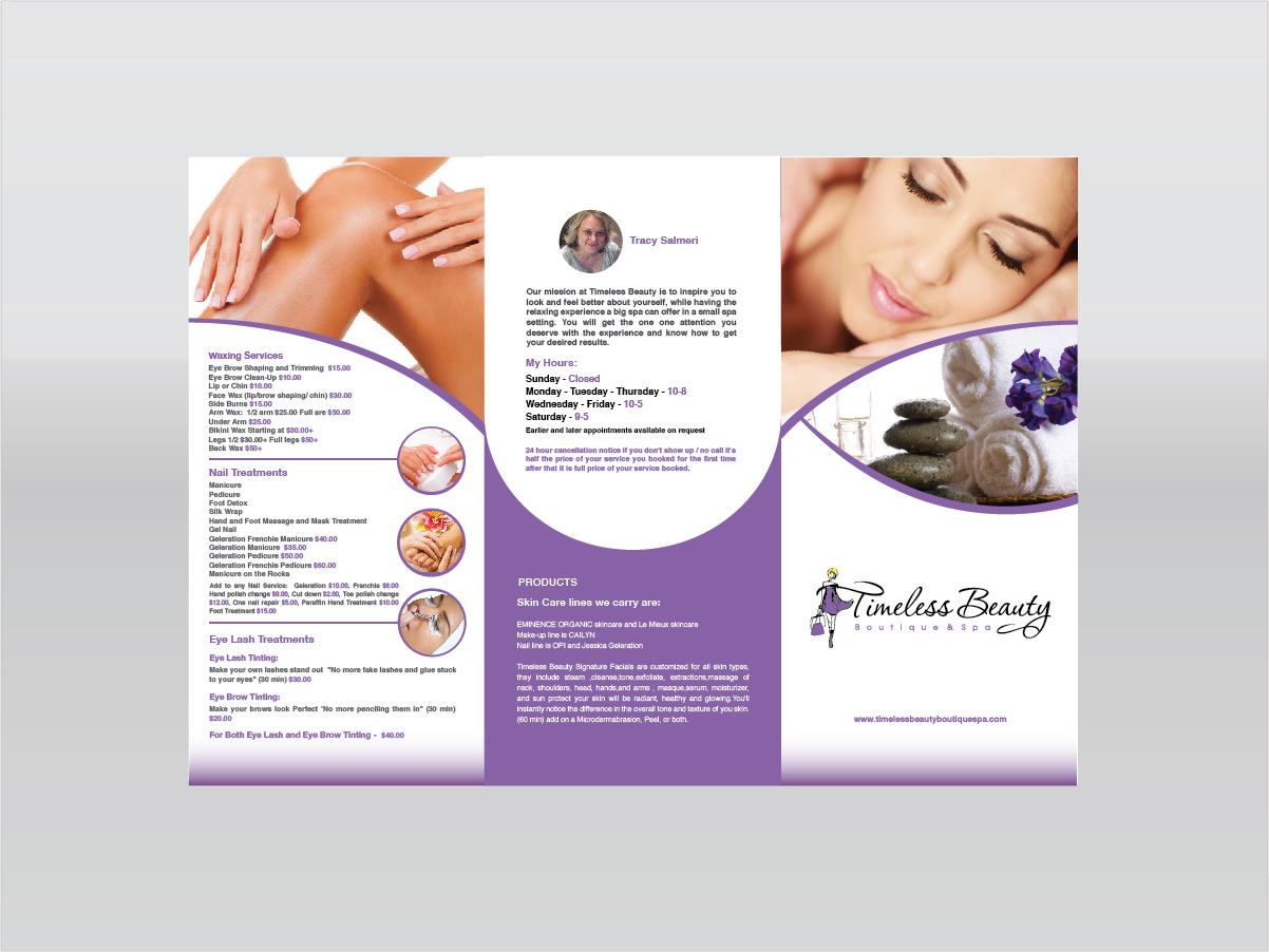 Feminine elegant boutique brochure design for a company for Spa brochure design