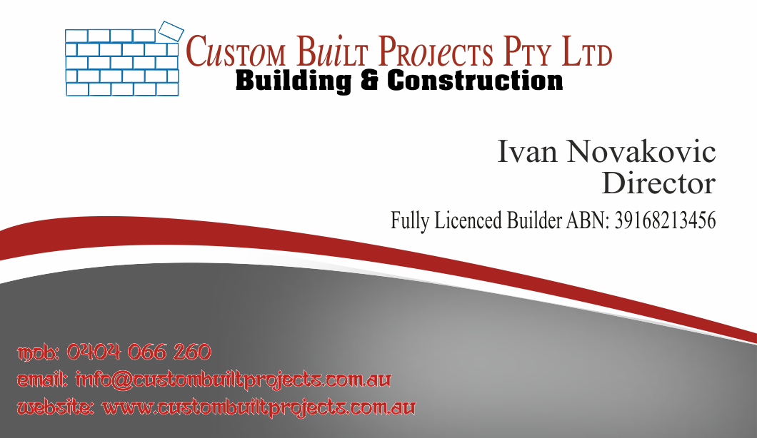 Serious upmarket construction business card design for custom business card design by somnathkerji1 for custom built projects design 3356251 colourmoves