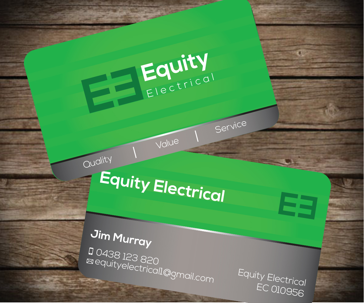 business card design job  business card brief for equity electrical  a company in australia