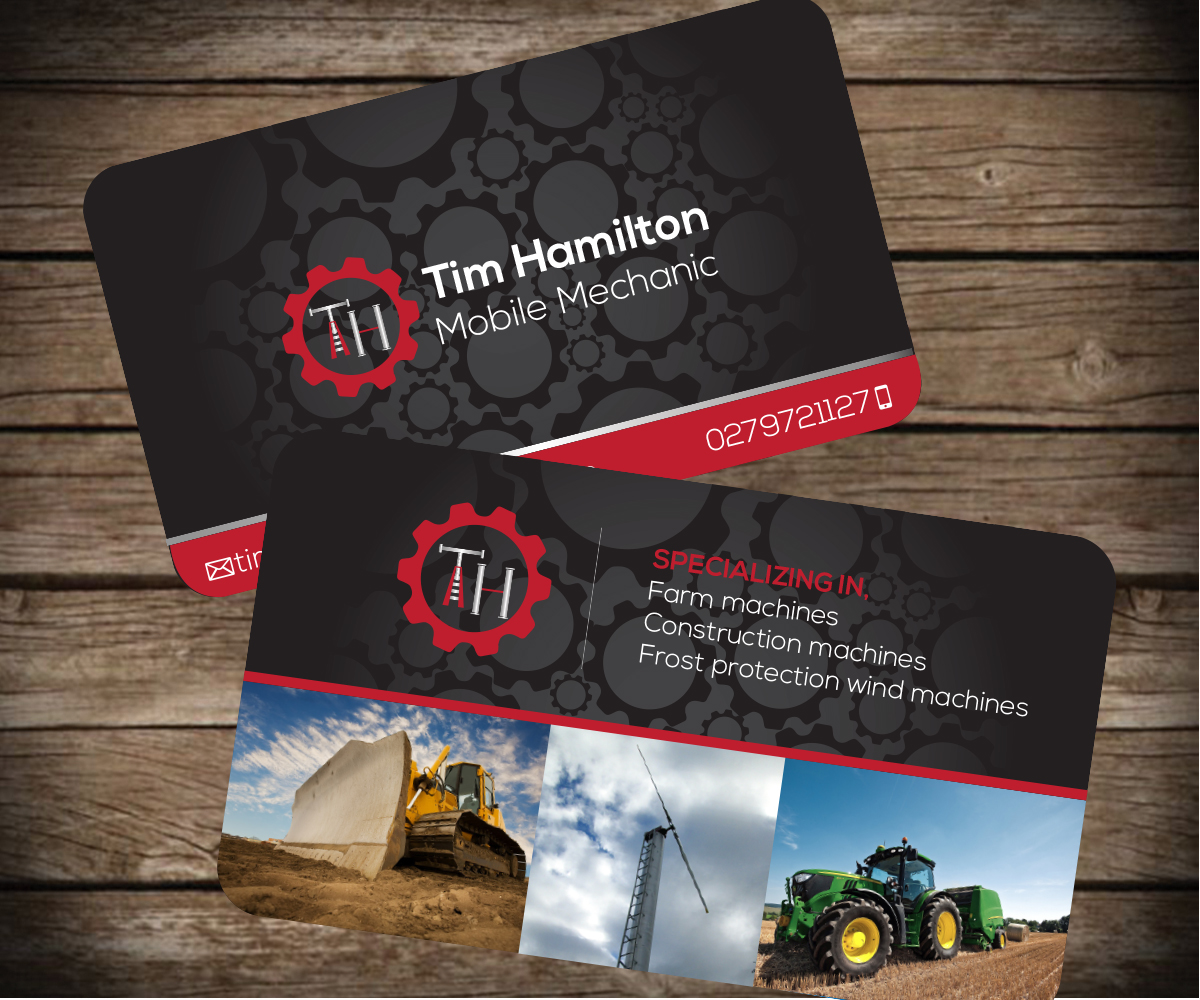 Mobile mechanics business card business card design for Mechanic shop business cards
