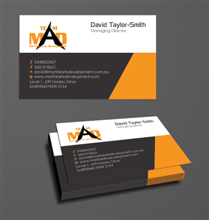 bold serious business card design for martial arts development by