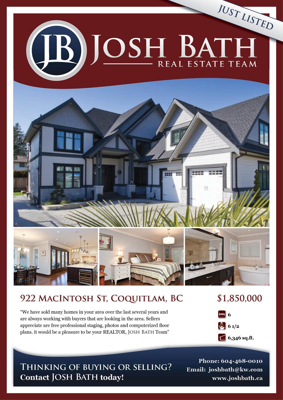 real estate just sold flyer templates - upmarket bold flyer design design for josh bath a