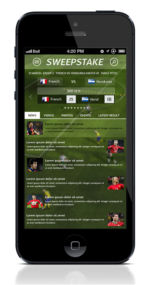 App Design by creativewebdesignideas.com - World Cup Sweepstake