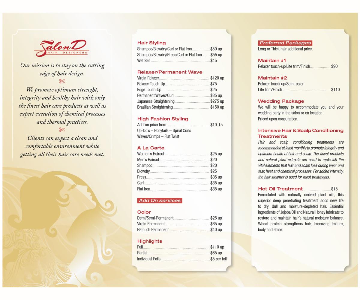 Salon Brochure Design for Salon D by Michele_co | Design #3439503