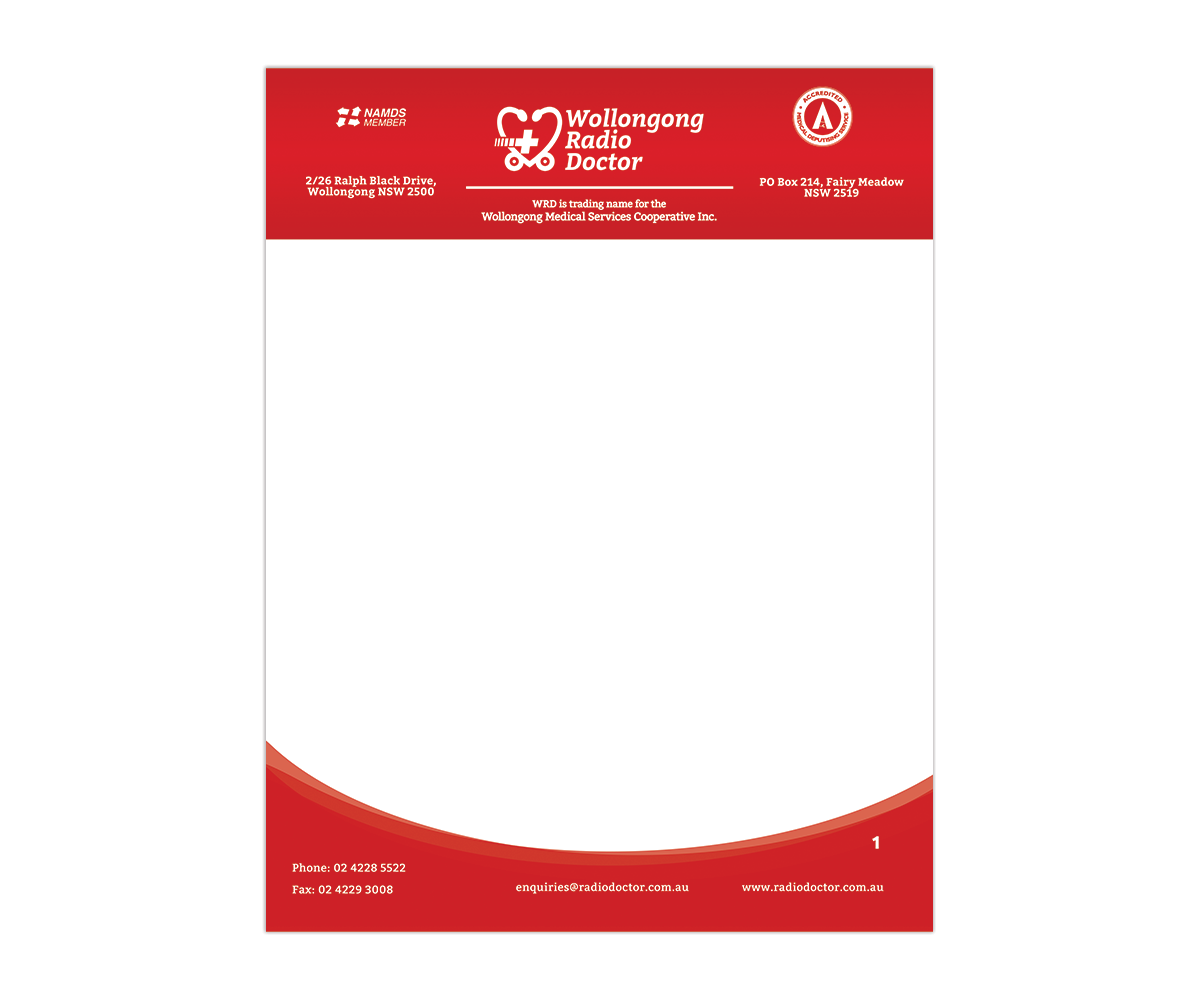 Letterhead Design For Wollongong Radio Doctor By