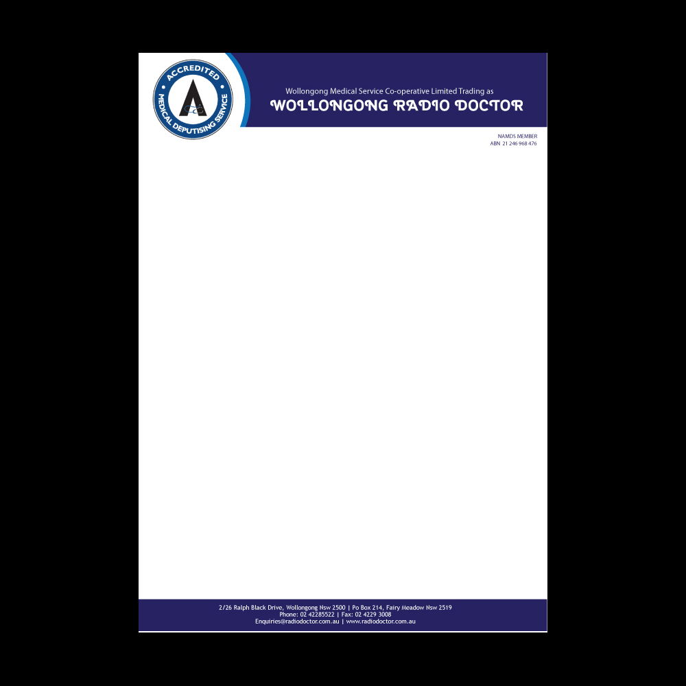 Radio letterhead design for wollongong radio doctor by yas Create a blueprint