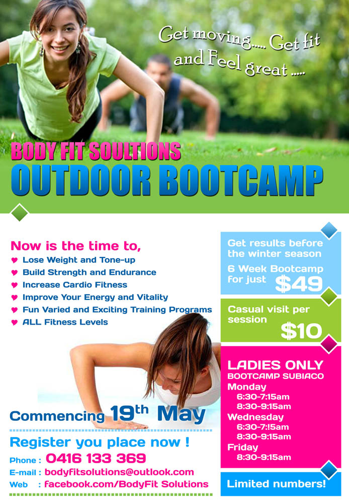 Ladies Fitness Boot Camp Flyer Dolapgnetband