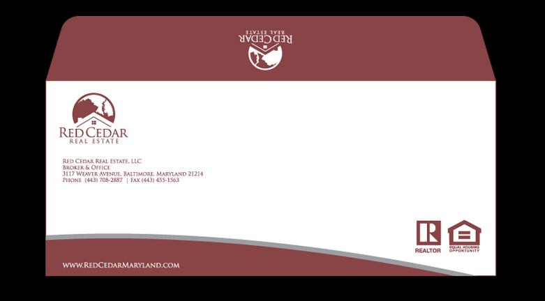 masculine conservative real estate envelope design for countrywide