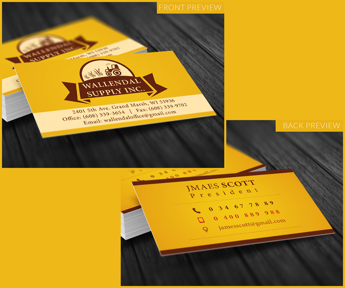 Masculine elegant farming business card design for wallendal business card design by square monkey for wallendal supply inc design 3475213 reheart Choice Image