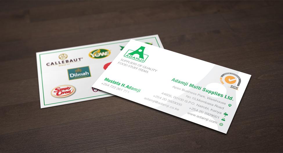 Modern professional business business card design for adamji business card design by juca for adamji distributors ltd design 3509518 reheart Gallery