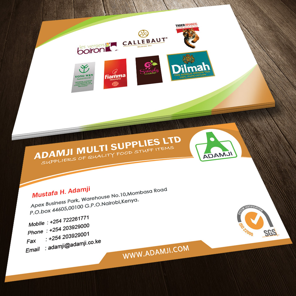 Modern professional business business card design for adamji business card design by sandaruwan for adamji distributors ltd design 3444974 reheart Image collections