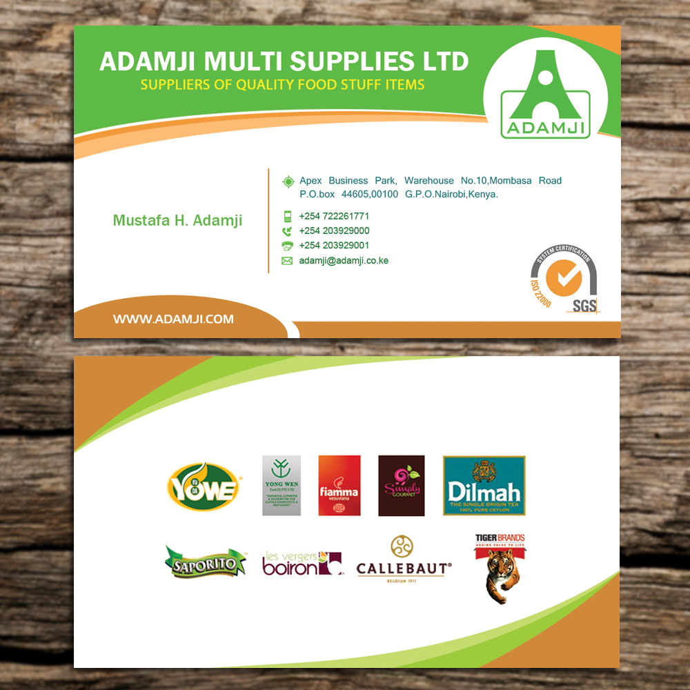 Modern professional business business card design for adamji business card design by sandaruwan for adamji distributors ltd design 3455875 reheart Image collections