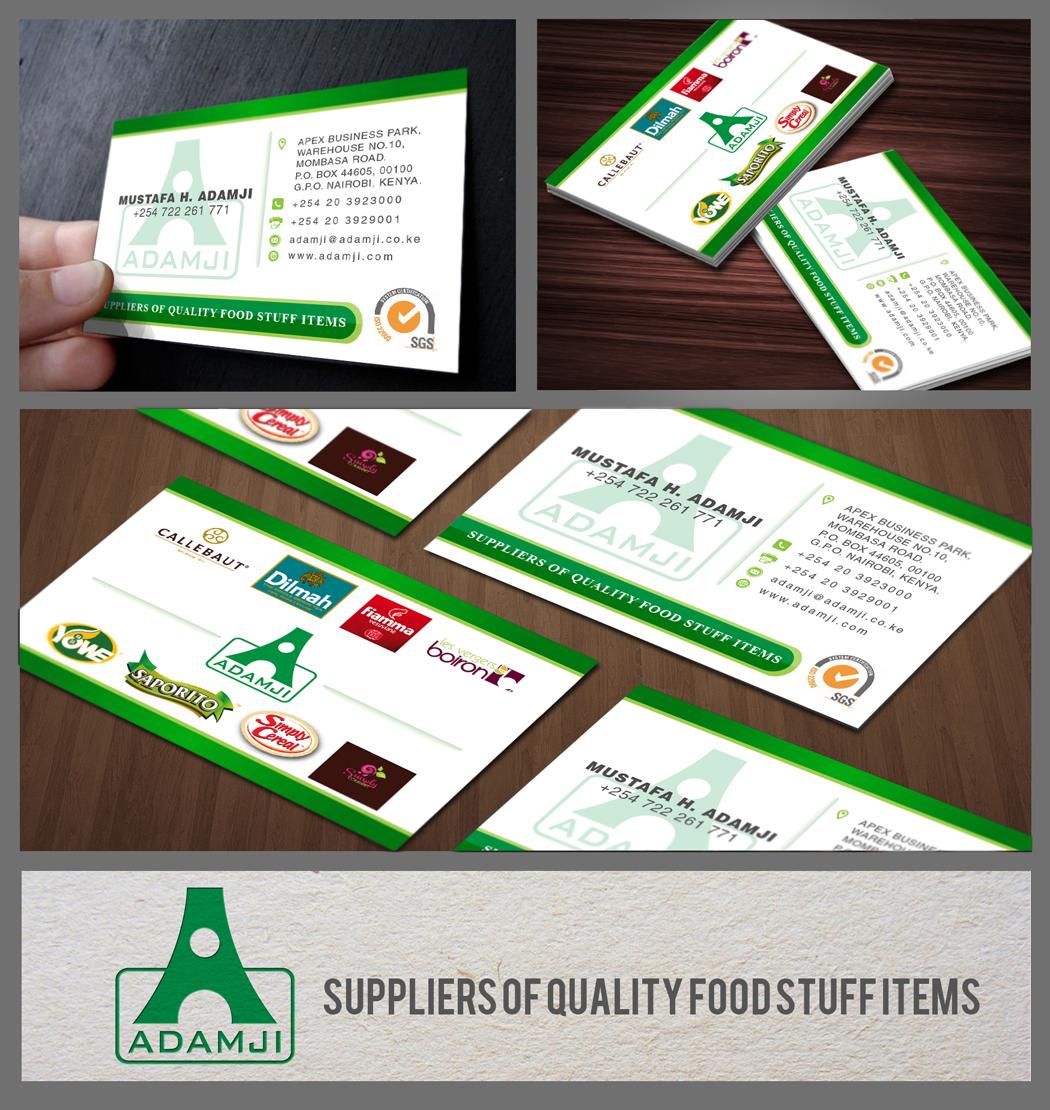 Modern professional business business card design for adamji business card design by ahero production for adamji distributors ltd design 3481669 reheart Gallery