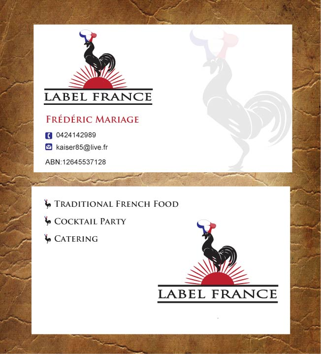 Elegant Serious Catering Business Card Design For Label France By