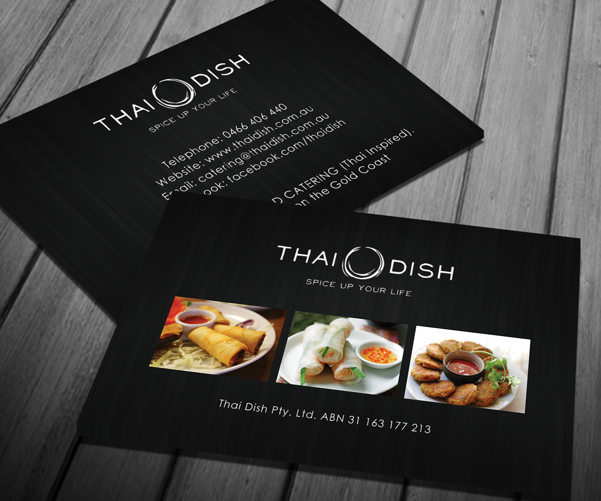 Catering business card design for thai dish by smart designs business card design by smart designs for thai dish design 3448448 reheart Images