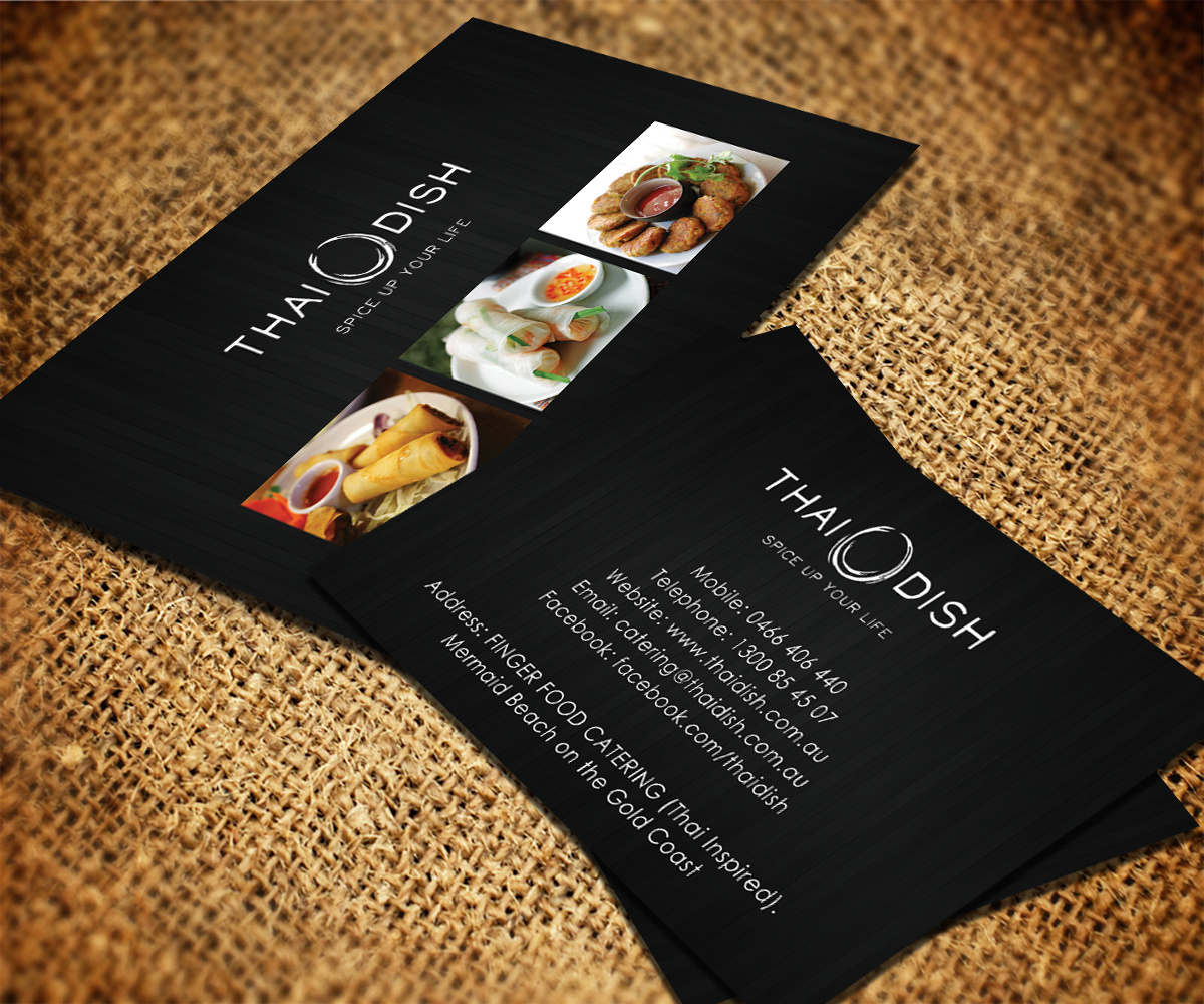 Catering Business Card Design For Thai Dish By Smart Designs