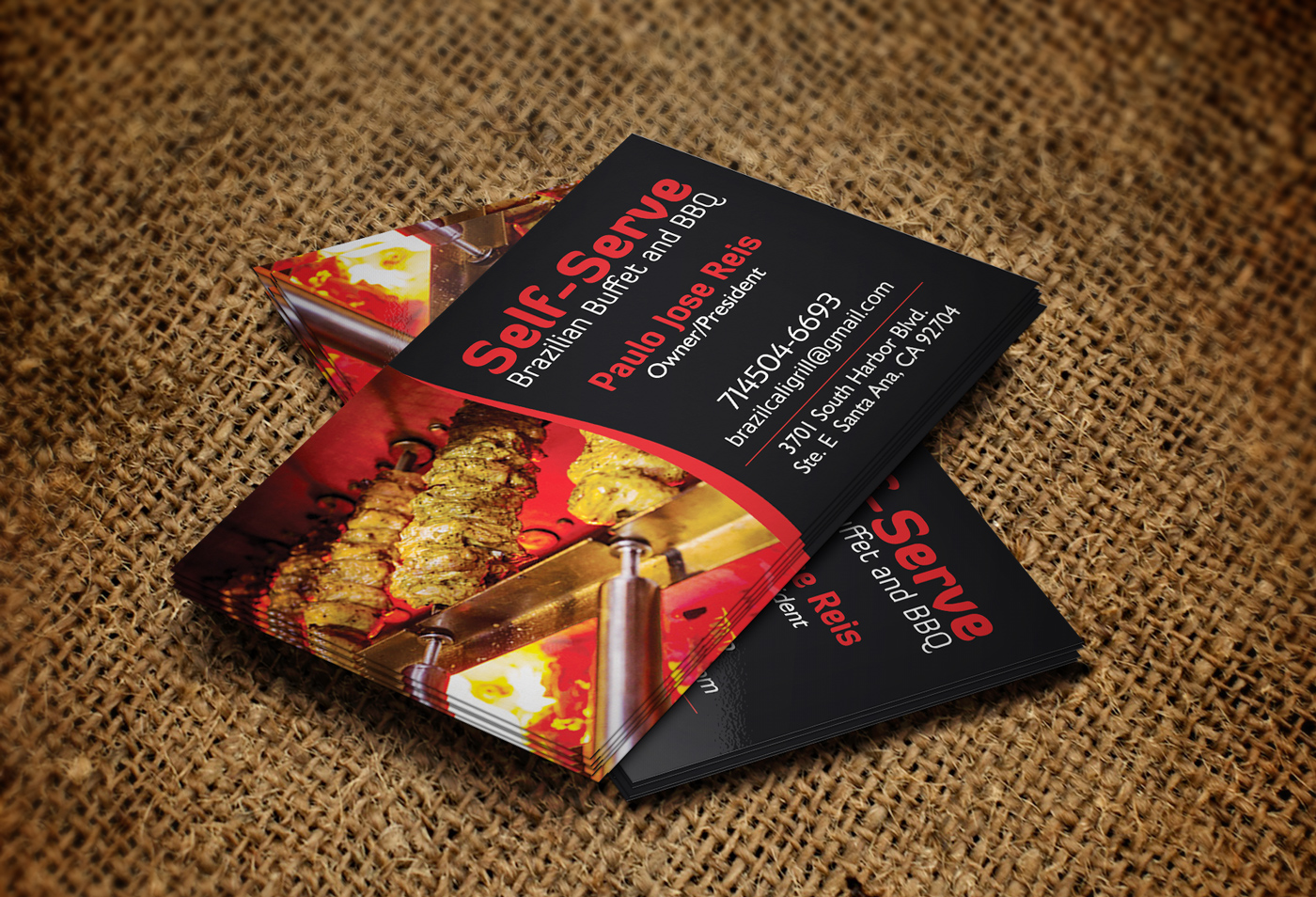 Serious conservative business card design for brazilian for Bbq catering business cards