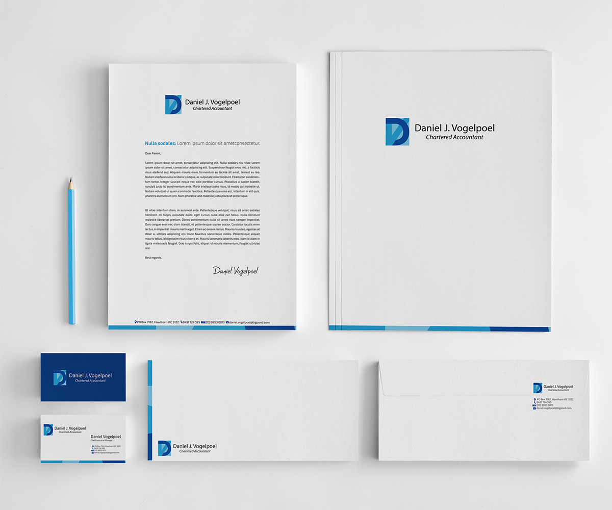 letterhead design by owtee thedreamer for daniel j vogelpoel chartered accountant
