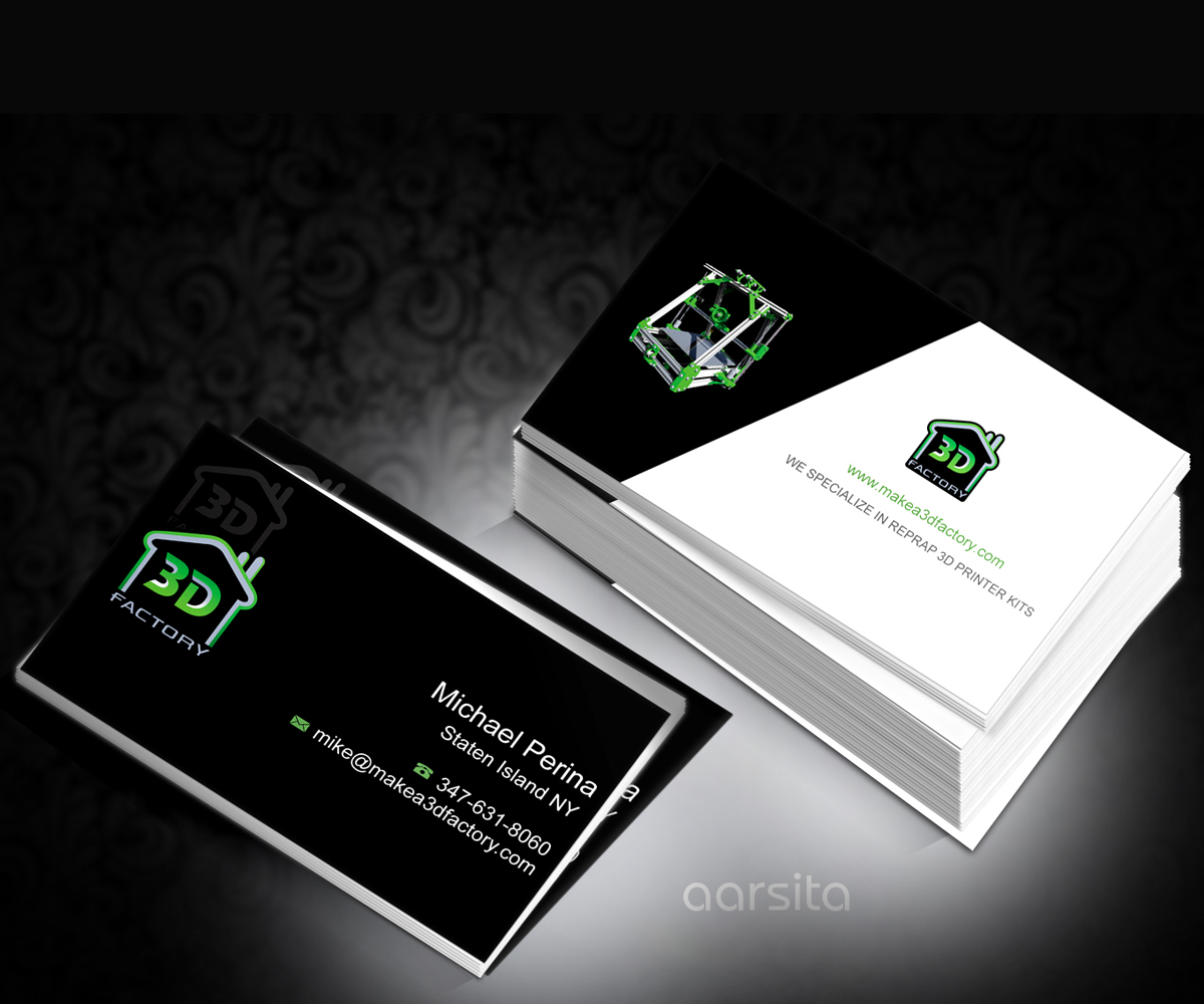 Modern playful printing business card design for 3dfactory llc by business card design by aarsita for 3dfactory llc design 3501397 reheart Choice Image