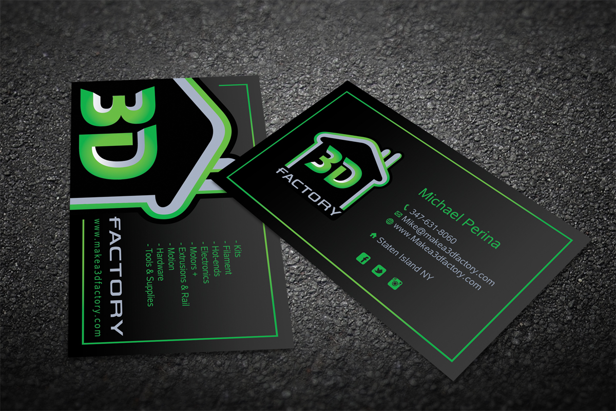 Modern, Playful, Printing Business Card Design for 3dfactory LLC by ...