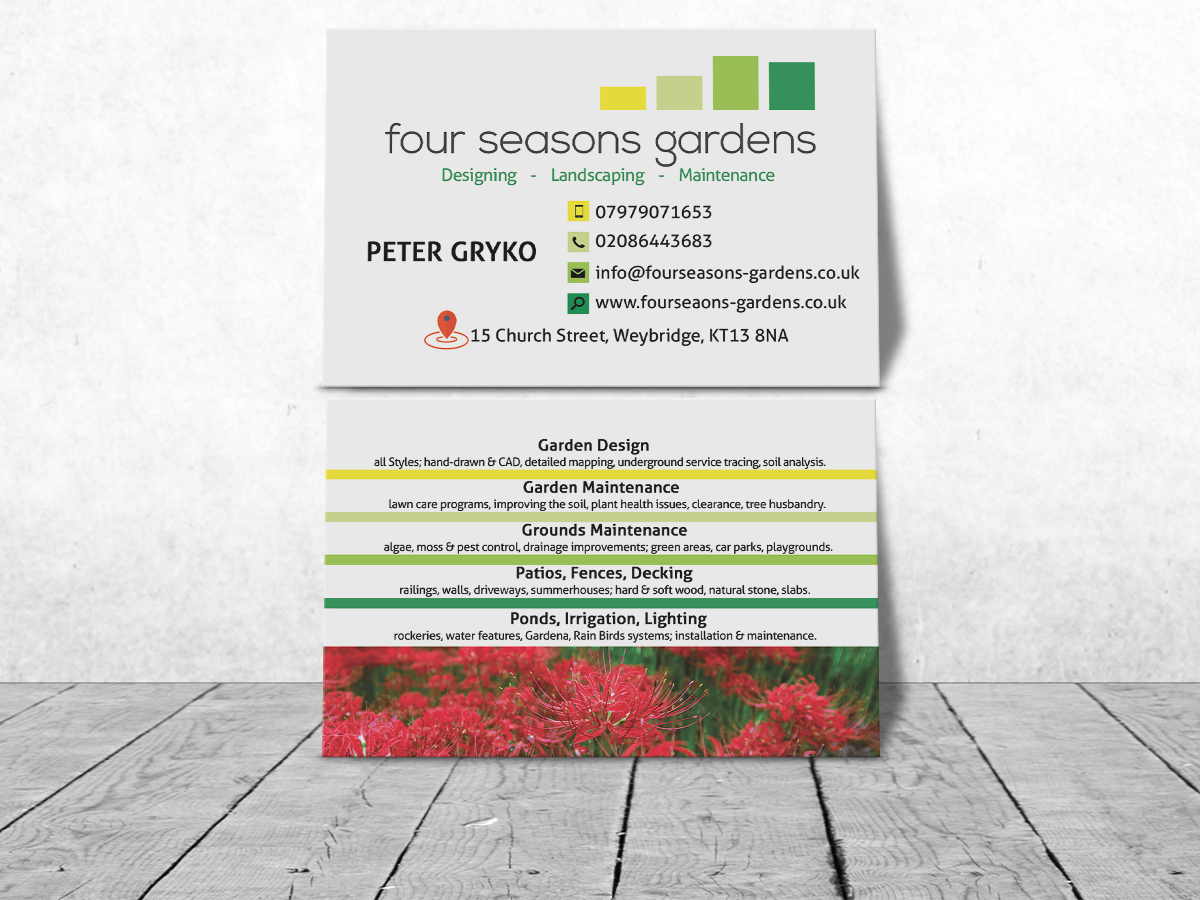 Serious, Professional, Landscaping Business Card Design for ... on rain gutter downspout design, rain roses, french drain design, rain illustration, dry well design, rain harvesting system design, rain art drawings, rain construction, rain barrels, rain water design, gasification design, bioswale design, rain gardens 101,
