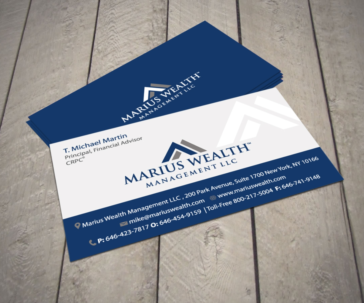 Investment Business Card Design for Marius Wealth Management LLC by ...