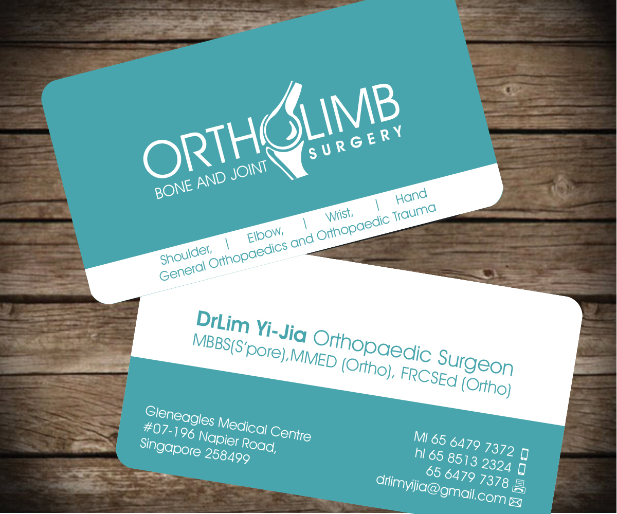 Business Card Design By Aaron For A Renowned Orthopaedic Surgeon Starting  His Own Private Clinic Needs