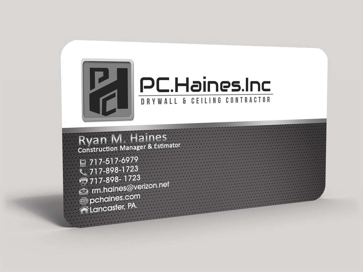 Construction Business Card Design for PC.Haines.INC Drywall ...