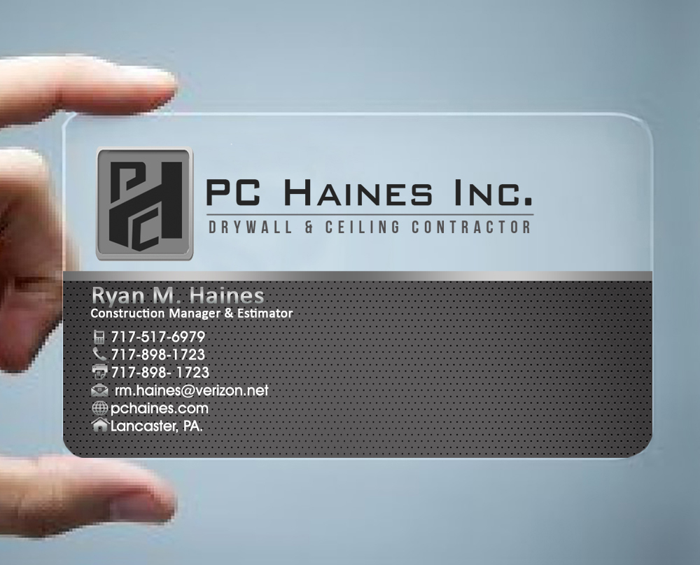 21 business card designs construction business card design project business card design by hardcore design for pchainesc drywall ceiling contractor reheart Choice Image