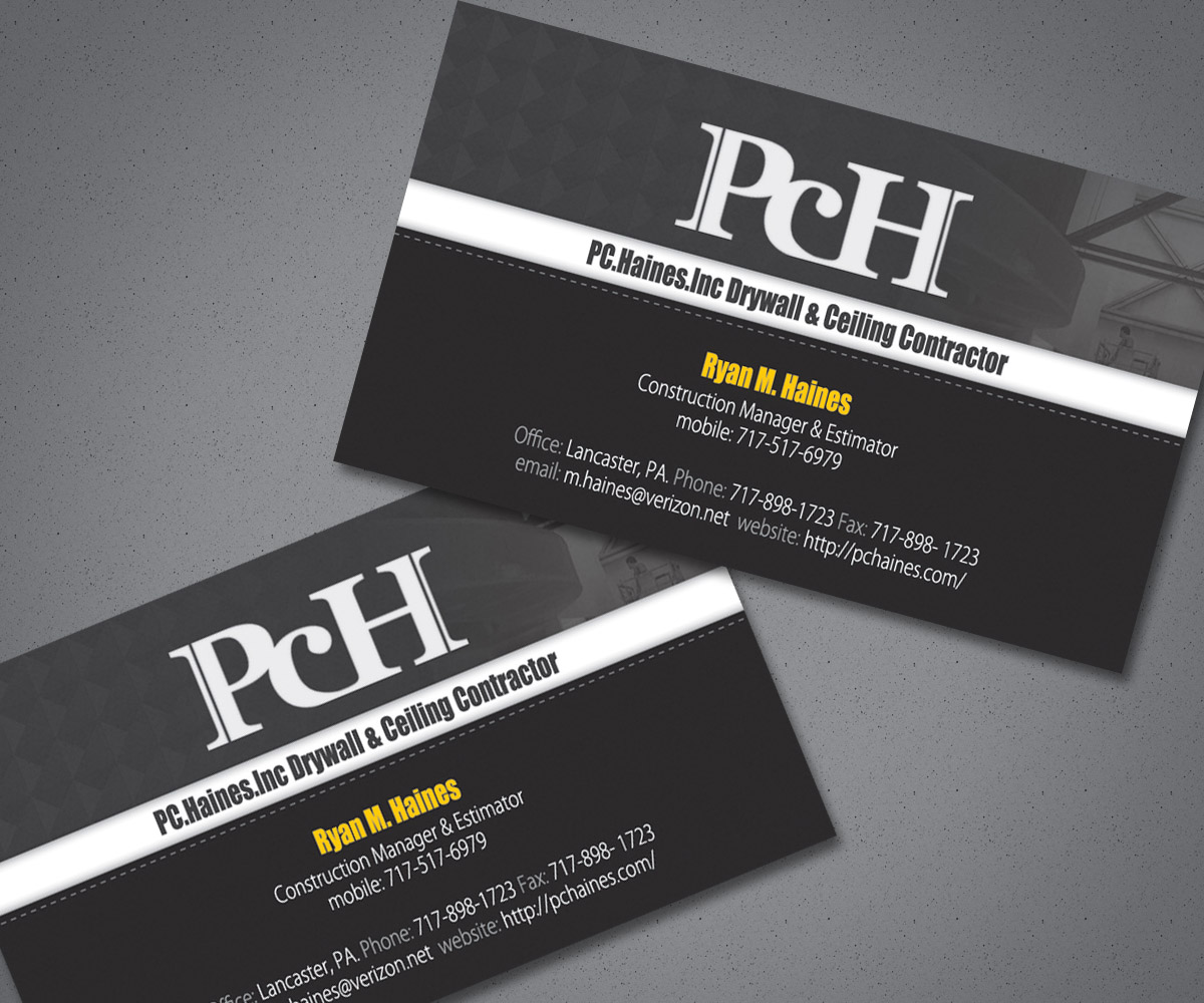 Business Card Design for PC.Haines.INC Drywall & Ceiling ...