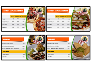 Menu Design by Jenn Smith - Deli Tacos Digital Menu Boards