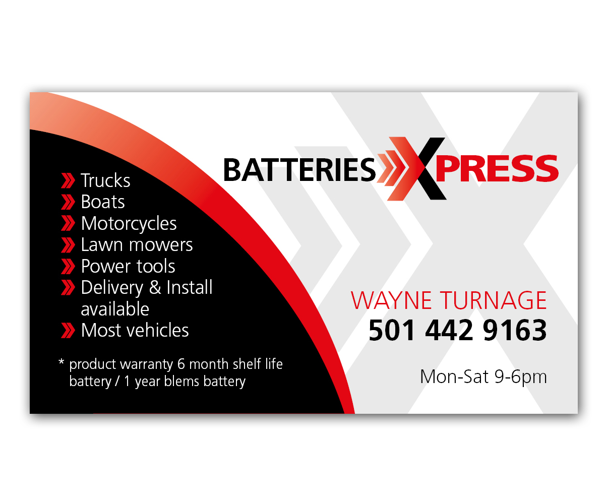Business business card design for batteries x press llc by anna01 business business card design for batteries x press llc in united states design 3584919 reheart Images