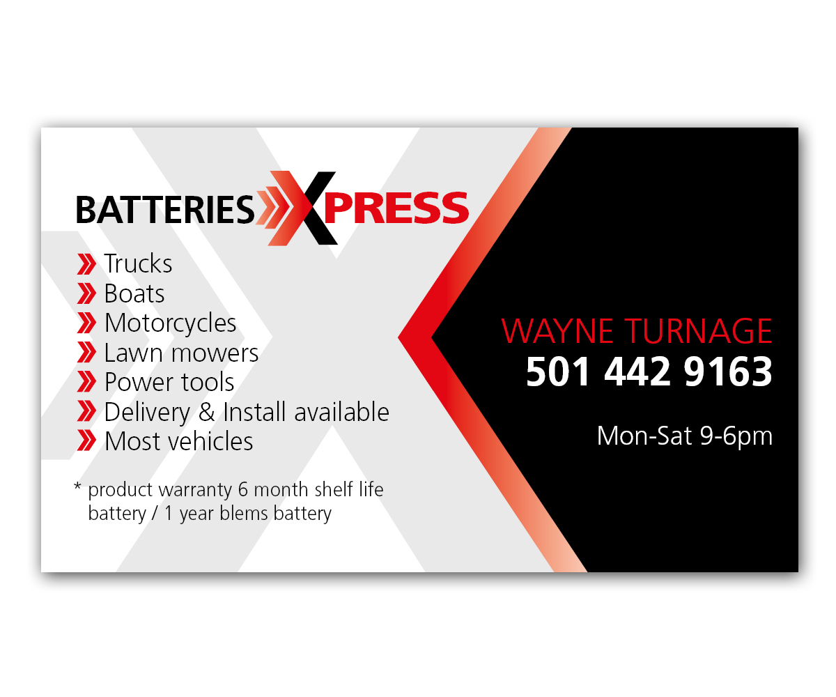 Business Card Design For Batteries X Press Llc By