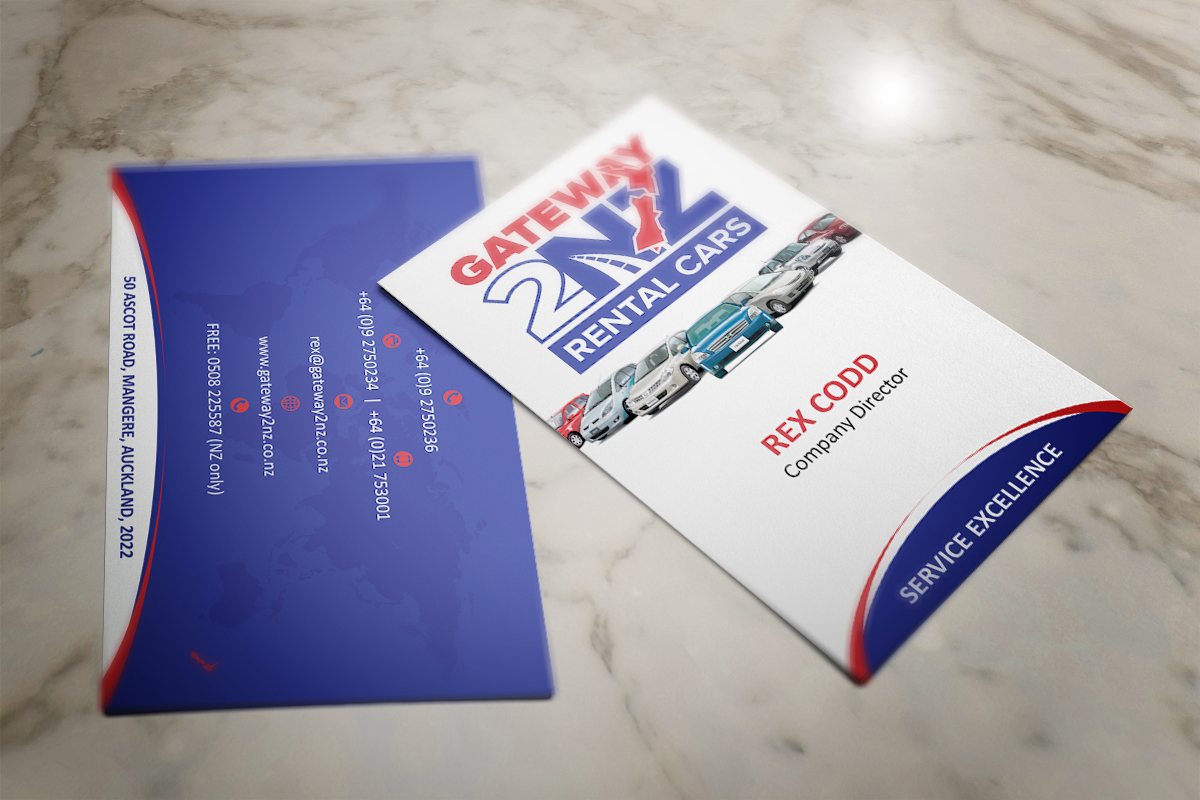 Business Business Card Design for Gateway 2 NZ Rental Cars Ltd by MT ...