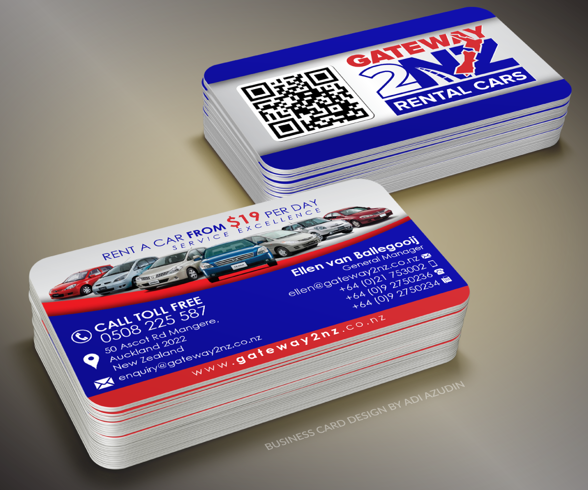 Business Business Card Design for Gateway 2 NZ Rental Cars Ltd by ...
