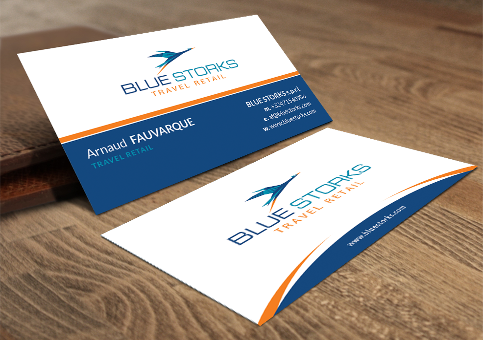 70 bold business card designs airlines business card design business card design by artman for blue storks sprl design 3611072 colourmoves