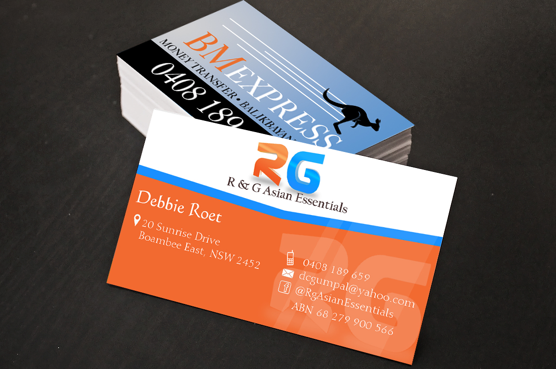 Bold playful retail business card design for r g asian bold playful retail business card design for r g asian essentials in australia design 3739561 colourmoves