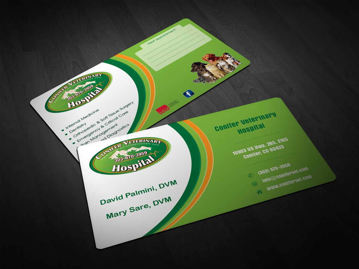 Serious masculine veterinary business card design for conifer business card design by scorpius design for conifer veterinary hospital design 1188543 colourmoves