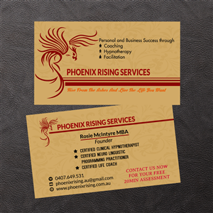 Hypnotherapy business card designs 22 hypnotherapy business cards phoenix rising services business card design business card design by venus l penaflor colourmoves