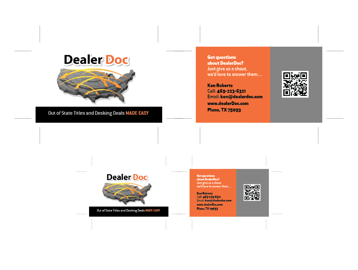 Business card design for ken roberts by 90 degree design design business card design by 90 degree design for dealerdoc design 3606484 reheart Gallery