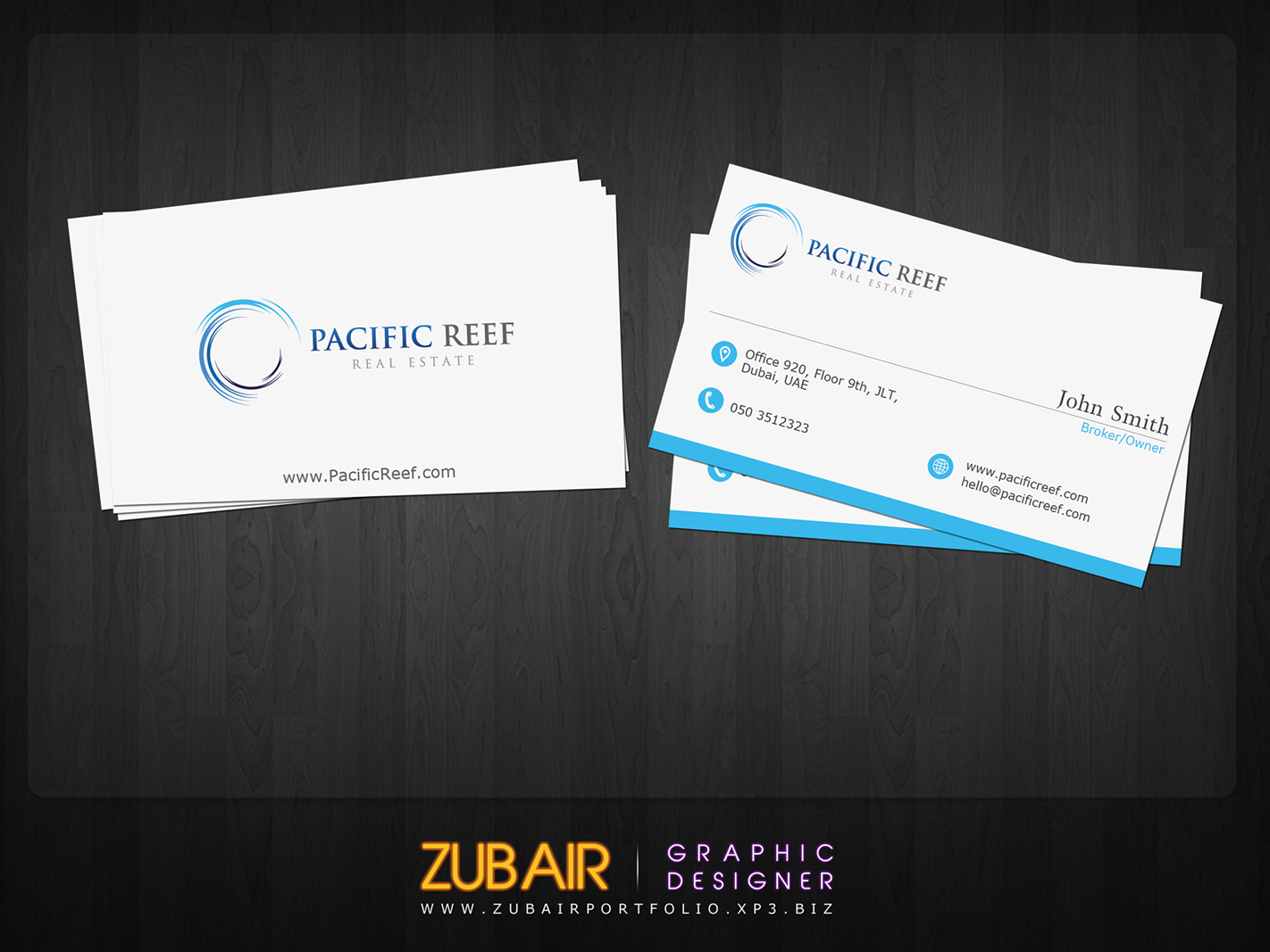 Business business card design for pacific reef real estate by zubair business card design by zubair for pacific reef real estate design 3683587 reheart Gallery