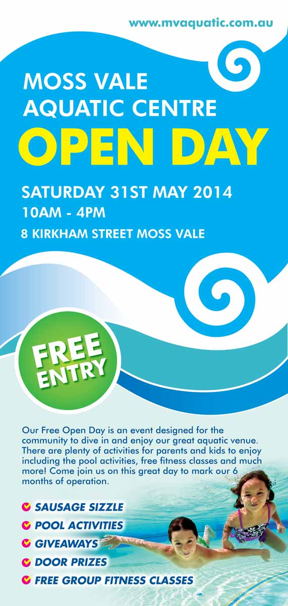 event flyer design for moss vale aquatic centre by rkailas design